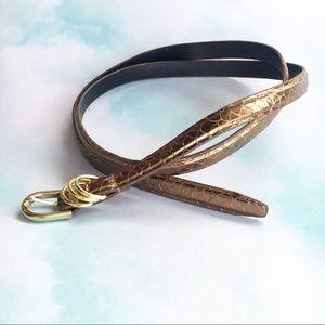 Bronze Snake Skinny Belt Size 14